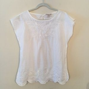 Banana Republic White Cotton Eyelet Lace Blouse